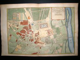 De Fer 1724 Folio H/Col Map Plan. Chateaux & Town, St. Germain en Laye, France